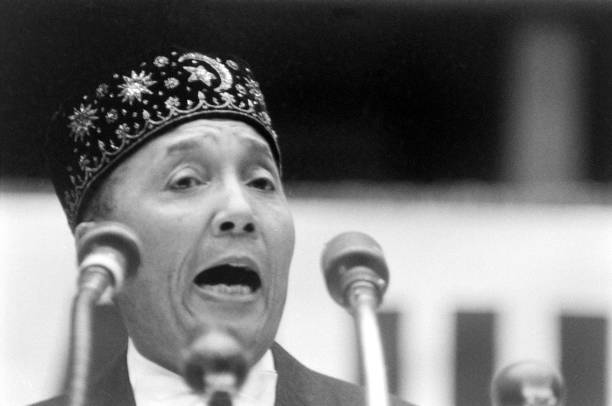Muslim leader Elijah Muhammad speaking at an annual Muslim convention in Chicago, 1961. (Photo by Frank Scherschel/The LIFE Picture Collection via Getty Images)