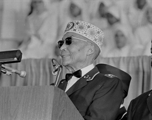 Close-up of Nation of Islam leader Elijah Muhammad (born Elijah Poole, 1897 - 1975) as he speaks to an audience on Saviour's Day at the General Richard Jones Armory, Chicago, Illinois, February 26, 1967. (Photo by Robert Abbott Sengstacke/Getty Images)